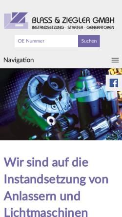 Vorschau der mobilen Webseite www.blass-ziegler.de, Blass und Ziegler GmbH