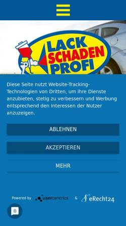 Vorschau der mobilen Webseite www.lackschadenprofi.de, Lackreparaturservice Klaus Nagel