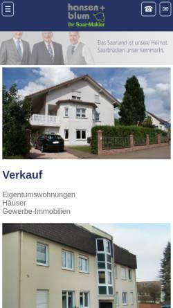 Vorschau der mobilen Webseite www.hansen-blum-immobilien.de, Hansen + Blum Immobilien GmbH