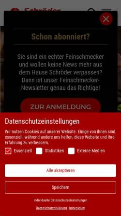 Vorschau der mobilen Webseite www.schroeder-fleischwaren.de, Schröder Fleischwarenfabrik GmbH & Co. KG