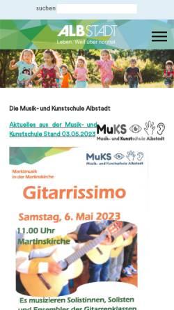 Vorschau der mobilen Webseite www.muks-albstadt.de, Musik- und Kunstschule Albstadt