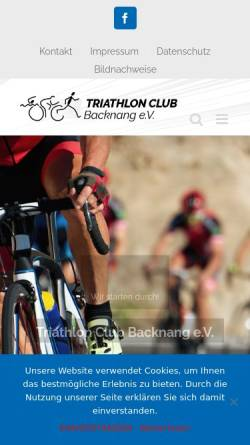 Vorschau der mobilen Webseite www.triaclubbacknang.de, Triathlon Club e.V.