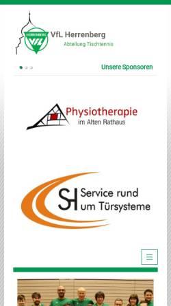 Vorschau der mobilen Webseite www.tischtennis-herrenberg.de, VfL Herrenberg - Tischtennis-Abteilung