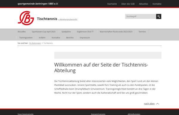 Vorschau von www.sg-bettringen.de, Sportgemeinde Bettringen e.V. Tischtennisabteilung