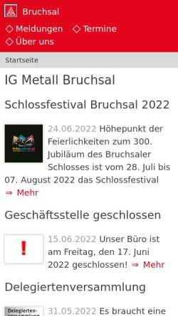 Vorschau der mobilen Webseite www.bruchsal.igm.de, IG Metall Bruchsal