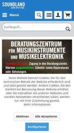 Vorschau der mobilen Webseite www.soundland.de, Soundland GmbH