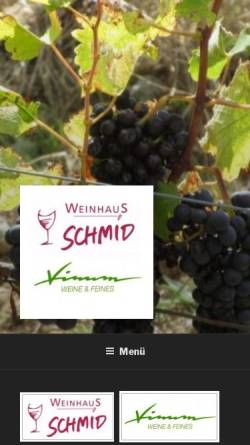 Vorschau der mobilen Webseite www.weinschmid.de, Weinhaus Schmid