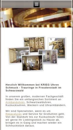 Vorschau der mobilen Webseite www.antik-uhr.de, Krieg, Optik-Uhren-Schuck