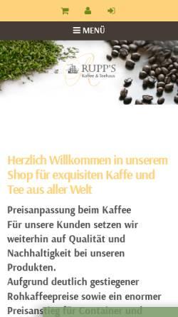 Vorschau der mobilen Webseite www.kaffee-teeversand.de, Rupps Kaffee- und Teehaus