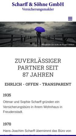Vorschau der mobilen Webseite www.scharff.cc, Scharff & Söhne GmbH Versicherungsmakler