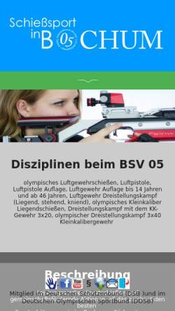 Vorschau der mobilen Webseite www.blau-weiss-05.de, Bürger-Schützenverein Blau-Weiß 05 Bochum-Oberdahlhausen e.V.