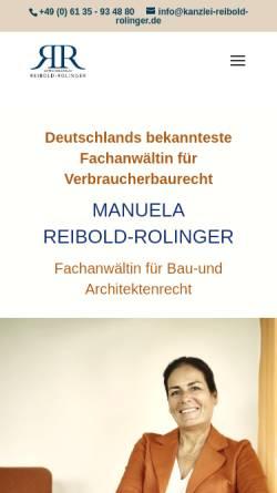 Vorschau der mobilen Webseite www.reibold-rolinger.de, Anwaltskanzlei Reibold-Rolinger