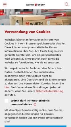 Vorschau der mobilen Webseite www.wuerth.com, Würth-Gruppe