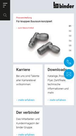 Vorschau der mobilen Webseite www.binder-connector.de, Franz Binder GmbH & Co. Elektrische Bauelemente KG