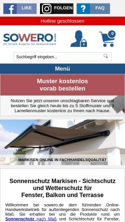 Vorschau der mobilen Webseite www.sowero.de, Sowero Bauelemente, Thomas Mattausch e.K.