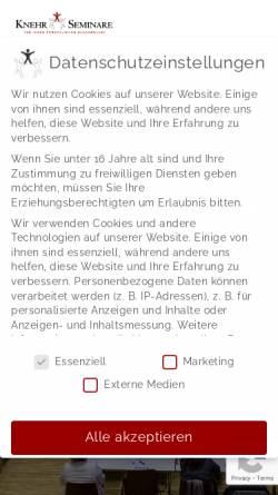 Vorschau der mobilen Webseite www.knehr-seminare.de, Knehr Seminare - Institut für kreative Selbstentfaltung
