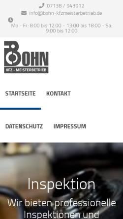 Vorschau der mobilen Webseite www.bohn-kfzmeisterbetrieb.de, Bohn KFZ-Meisterbetrieb