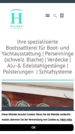 Vorschau der mobilen Webseite www.hildra.de, Hildra Bootsattlerei