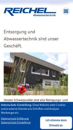 Vorschau der mobilen Webseite www.reichel-abwassertechnik.de, Manfred Reichel Transporte und Abwassertechnik GmbH