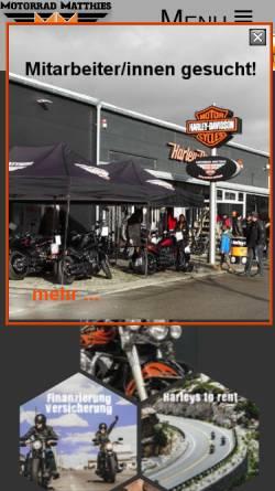Vorschau der mobilen Webseite www.motorrad-matthies.com, Motorrad-Matthies Harley-Davidson Tuttlingen