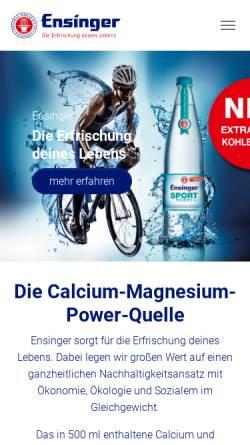 Vorschau der mobilen Webseite www.ensinger.de, Ensinger Mineral-Heilquellen GmbH