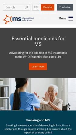 Vorschau der mobilen Webseite www.msif.org, Multiple Sklerosis Internationale Vereinigung (MSIF)