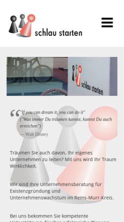 Vorschau der mobilen Webseite www.schlau-starten.com, Schlau Starten Existenzgründungsberatung