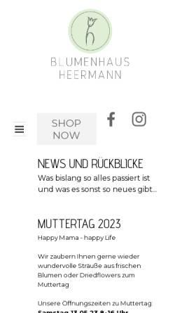 Vorschau der mobilen Webseite www.blumenhaus-heermann.de, Blumenhaus Heermann