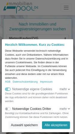 Vorschau der mobilen Webseite www.immobilienpool.de, immobilienpool.de Media GmbH & Co KG