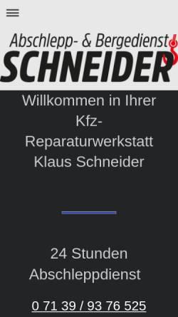 Vorschau der mobilen Webseite www.kfz-schneider.de, Kfz-Service Schneider