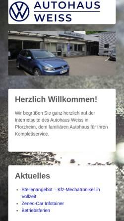 Vorschau der mobilen Webseite www.vw-weiss.de, Autohaus Weiss