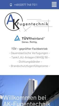 Vorschau der mobilen Webseite www.ak-fugentechnik.de, AK Fugentechnik - Inh. Kremser Andreas