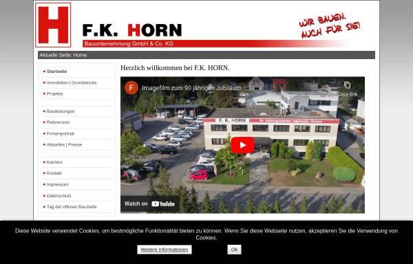 Vorschau von www.f-k-horn.de, Bauunternehmung Horn