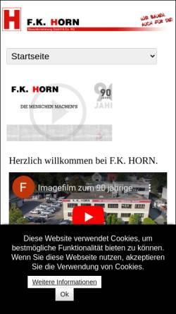 Vorschau der mobilen Webseite www.f-k-horn.de, Bauunternehmung Horn