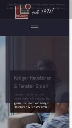 Vorschau der mobilen Webseite www.krueger-fenster.de, Krüger Haustüren & Fenster GmbH