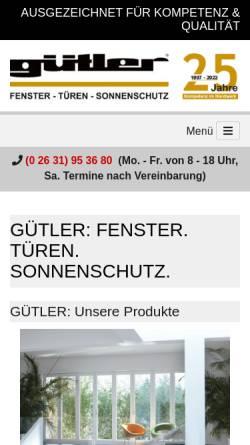 Vorschau der mobilen Webseite guetler.de, Gütler GmbH - Fenster Türen Sonnenschutz
