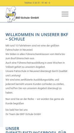 Vorschau der mobilen Webseite www.bkf-neuwied.de, BKF - Schule