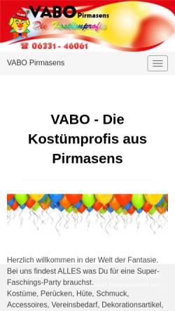 Vorschau der mobilen Webseite www.vabolino.de, VABO - Die Kostümprofis