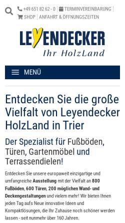 Vorschau der mobilen Webseite www.leyendecker.de, Holzland Leyendecker GmbH & Co.KG