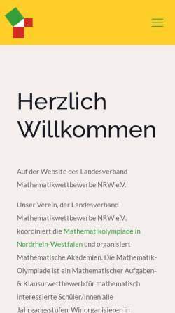 Vorschau der mobilen Webseite www.mathe-wettbewerbe-nrw.de, Landesverband Mathematikwettbewerbe Nordrhein-Westfalen e.V.