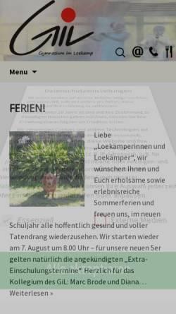 Vorschau der mobilen Webseite www.gil-marl.de, Gymnasium im Loekamp (GiL)