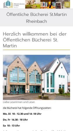 Vorschau der mobilen Webseite www.buecherei-rheinbach.de, Öffentliche Bücherei St. Martin in Rheinbach