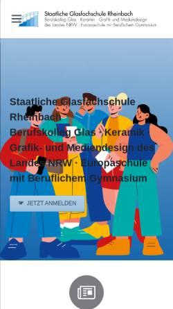 Vorschau der mobilen Webseite www.glasfachschule.de, Staatliches Berufskolleg Glas Keramik Gestaltung des Landes Nordrhein-Westfalen Rheinbach