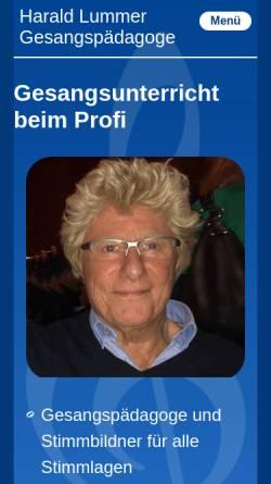 Vorschau der mobilen Webseite www.harald-lummer.de, Harald Lummer, Gesangspädagoge