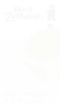 Vorschau der mobilen Webseite www.kita-zwergnase.de, Kindertagesstätte Zwergnase e.V.