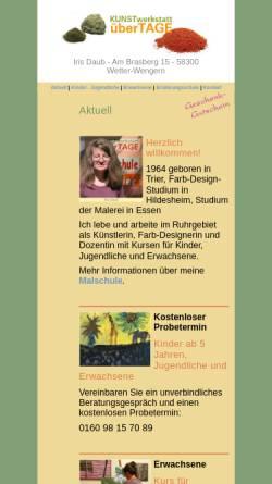 Vorschau der mobilen Webseite www.kunstwerkstatt-ueber-tage.de, Kunstwerkstatt über Tage - Malschule
