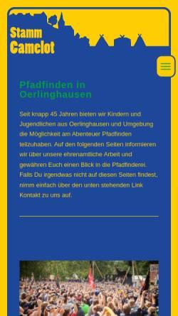 Vorschau der mobilen Webseite www.stamm-camelot.de, BdP e.V., Stamm Camelot Oerlinhausen