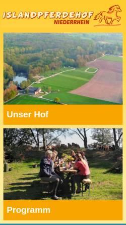 Vorschau der mobilen Webseite www.islandpferdehof-niederrhein.de, Islandpferdehof Niederrhein