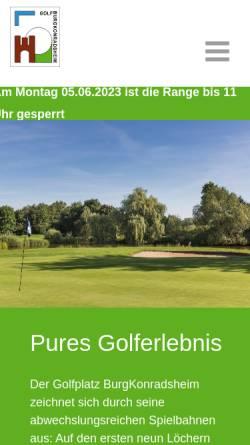 Vorschau der mobilen Webseite www.golfburg.de, Golf Burg Konradsheim GmbH & Co. KG