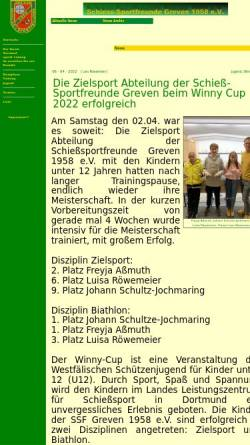 Vorschau der mobilen Webseite www.ssf-greven.de, Schieß-Sportfreunde Greven 1958 e.V.
